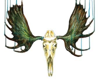 Bull Moose Skull Print