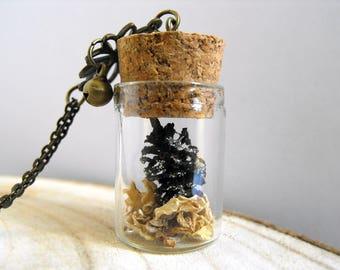 Romantic pine cones vial necklace nature inspired vial jewelry terrarium jewelry terrarium bridesmaid vial pendant terrarium vial necklace