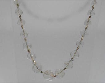 Vintage Art Deco Faceted Graduated Clear Crystal Beaded Necklace