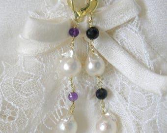 Saltwater Akoya Baroque Pearl Amethyst purple Spinels Klappbrisuren 925 Vergoldet earrings or gold filled