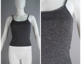 Vintage Womens 1990s Heathered Gray Sweater Knit Tank Top | Size XS/S