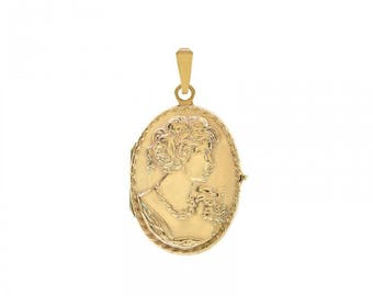 14k Yellow Gold Large Oval Cameo Portrait Locket Charm