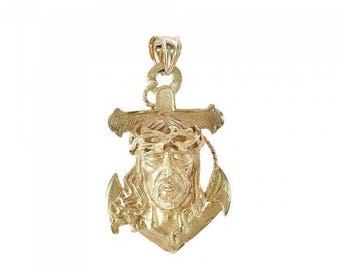 ON SALE 14K Yellow Gold Jesus Head Anchor Pendant Necklace