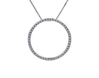 0.50 Carat Diamond Round Sparkling Eternity Pendant 14K White Gold