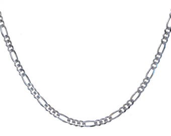 "Figaro Link Chain Made In Italy 24"" 14K White Gold"