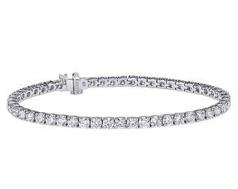 "2.75 Carat Round Cut Diamond Tennis Bracelet 7"" 14K White Gold"