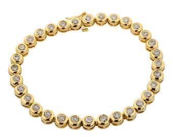 4.00 Carat Diamond Bezel Set Tennis Bracelet 14K Yellow Gold