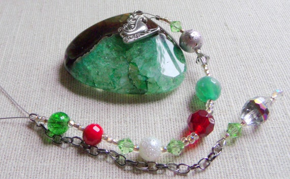 Christmas gemstone ornament - green druzy tree agate pendant -  angel - red triangle holiday charms - present decor ideas - silver mitten -