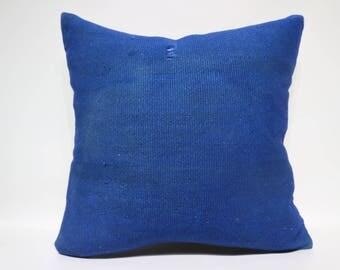 24x24 Handwoven Kilim Pillow Throw Pillow 24x24 Bohemian Kilim Pillow Ethnic Pillow Blue Overdyed Kilim Pillow Cushion Cover  SP6060-1453