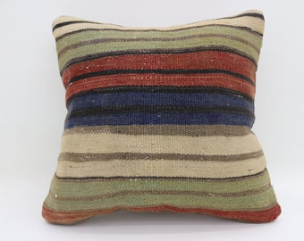 Bohemian Cushion Cover Pillow 50x50cm Large Turkish Kilim Pillow Multicolor Kilim Pillow Bed Pillow Striped Pillow Throw Pillow SP5050-2680