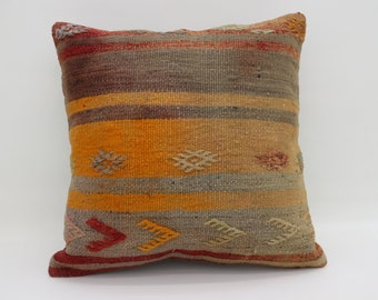 Striped Kilim Pillow Embroidery Kilim Pillow Boho  Pillow 20x20 Decorative Kilim Pillow Floor Pillow Ethnic Pillow Cushion Cover SP5050-2705