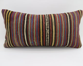12x24 Multicolor Kilim Pillow Throw Pillow 12x24 Lumbar Pillow Blue Striped Kilim Pillow Ethnic Pillow Boho Pillow Cushion Cover SP3060-1734