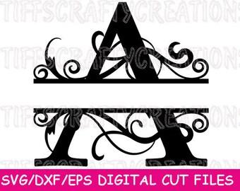 Split Monogram File, Split Monogram Letters, Split Monogram Letters Svg, Split Letter Svg Monogram, Split Monogram Svg, Letter Svg