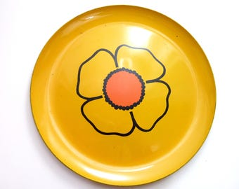 Vintage Mod Flower Serving Tray Round 13""