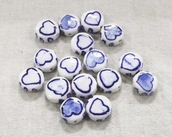 Quaint Hand-painted Ceramic Heart Beads in Blue with a 1mm Hole - Lot of 10