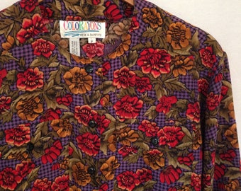1990s multicolored houndstooth and floral print blouse by COLORAYONS, sz P