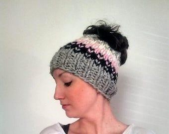 50% OFF SALE Fair Isle Messy Bun Hat, Knit Messy Bun Hat, Knit Ponytail Hat Pink, Fair Isle Bun Hat - Grey Marble