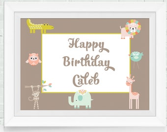 Front Door Safari Birthday Sign, Safari Baby Shower Decoration, Jungle Birthday Template, Childrens Animal Banner, Cute Animal Print, ISP047