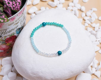 Hand Crafted Turquoise Stones and Transparent Beads Bracelet - Gift Idea Jewelry