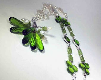 Peridot Quartz faceted elongated teardrop briolettes with freshwater pearls