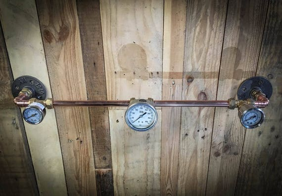 Industrial Copper and pressure gauge Coat / towel rack