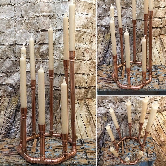 Beautiful 8 Candle Copper Centrepiece Candelabra