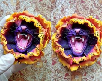 MADE TO ORDER Feline Sunflower brooch