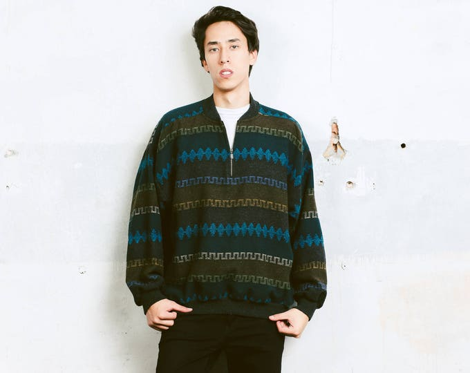 90s Grunge Sweater . Vintage Mens Slouchy Sweater Unisex Cozy Comfy Sweater Hipster 90s Clothing  1 4 Zip Sweater 90s Clothing . size Large