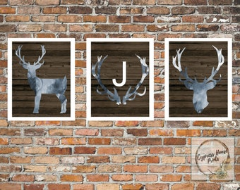 Set of 3 - Personalized Deer Printable Wall Art
