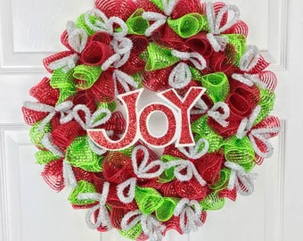 Christmas Wreath, Christmas Decor, Christmas Decorations, Front Door Decor, Xmas Decorations, JOY Wreath, Deco Mesh Wreath, Xmas Deco Mesh