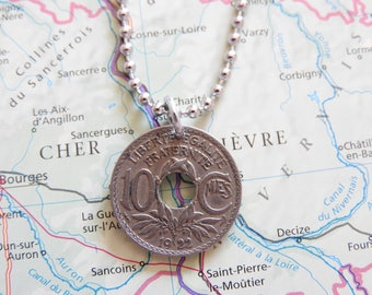 France 1921/1922/1923 vintage 10 centimes coin necklace - birth year - Paris - wedding present - 96e - 95e - 94e birthday