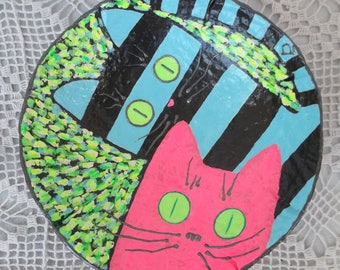 Bowl Two // Striped cat & pink cat // Bright colors // Great gift