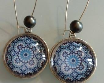 Earring dangle cabochon malaga blue, graphic, vintage, ethnic motif