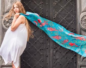 Floral silk scarf, Hand dyed silk scarf, Hand painted silk scarf, Teal silk scarf, Handmade silk scarf, Long silk scarf, Silk anniversary