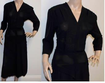 Vintage 1940s VOLUP crepe Vara Modes black multi tiered dress formal XL 341