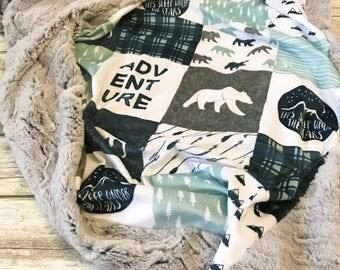 Minky Baby Blanket- Lumberjack Nursery- Baby Boy Blanket- Navy Baby Boy Bedding- Adventure Blanket- Woodland Nursery- Baby Blankets