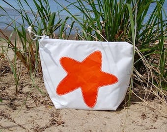 Orange Starfish Zippered Bag - Made from Recycled Sail