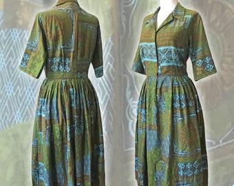 "50s Printed Shirtdress — 28""W"
