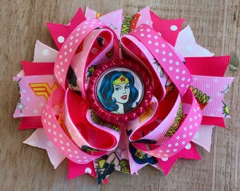 Wonder Girl Woman Inspired Boutique Bow Layered Boutique Bow Stacked Hair Clip Girls Boutique Bow