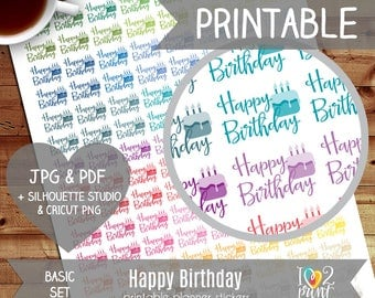 Happy Birthday Printable Planner Stickers, Erin Condren Planner Stickers, EC Printable Stickers, Happy Birthday Stickers - CUT FILES