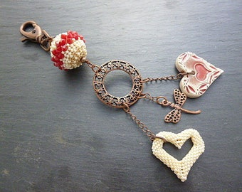 Red and ivory heart bag charm