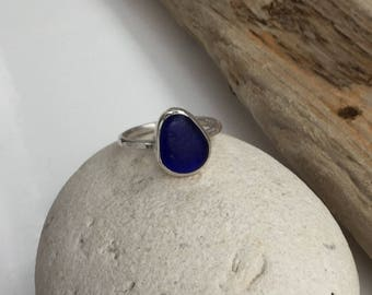 Blue Seaglass Ring, Cobalt Blue Seaglass Ring, Blue Seaglass Jewellery, Cobalt Blue Sea Glass, Seaglass Ring