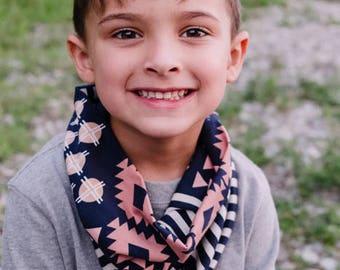 Navy Aztec Tube Scarf - Cowl Scarf - Infinity Scarf  - Infinity scarf - jersey knit - Fall Baby Scarf - kid prints - Neck warmer