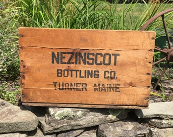 Wood Crate Wooden Crate Vintage Beverage Crate Nezinscot Bottling Company Wooden Crate Advertising Box Wooden Turner Maine Wood Crate Maine