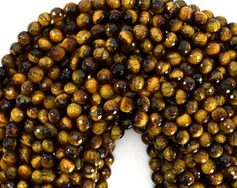 "6mm faceted tiger eye round beads 15"" strand 39189"