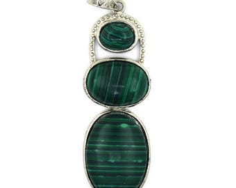 52mm green synthic malachite silver plated oval pendant bead 38100