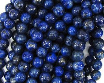 "4mm blue lapis lazuli round beads 15.5"" strand 10820"