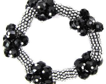 "Crystal silver plated daisy stretch bracelet 7"" black 11840"