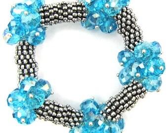 """Crystal silver plated daisy stretch bracelet 7"""" zircon 11833"""