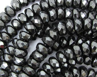 """8mm faceted hematite rondelle beads 15.5"""" strand 15010"""